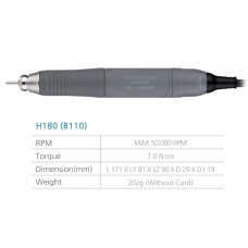 Saeshin H180 Slimline Handpiece ONLY - 50,000RPM - 8 Pin Female Cable - (Suits OZ Elite / Traus B110) - 1pc