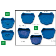 Orthodontic Model Rubber Model Base Formers (3 upper sizes and 2 lower sizes) - Set Of 5 - G2.3 - With vertical lines base.