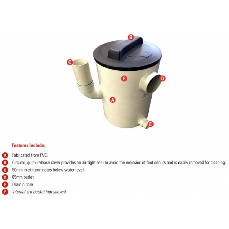 12L PVC Plaster Trap - Round with basket and sealed lid