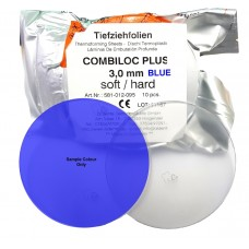 Aldente Combiloc Plus Dual Layer (Hard / Soft) Splint Material - 3.0mm - Round 120mm - BLUE - Pack 10