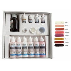 Acrylx Xthetic Denture FX Denture PMMA Colour Stains - START KIT (1-908-01) Includes 4 x 5g – 6 x 35g – 1 x 100ml Liquid