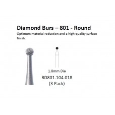 Diamond Bur - 801 Round - BD801.104.018 - 3 pack