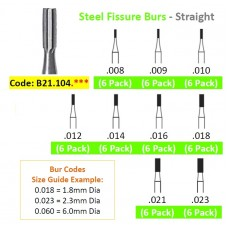 Edenta Steel Fissure Burs 21.104.0** - Straight - Pack 6 - Options Available