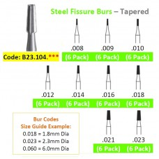 Edenta Steel Fissure Burs 23.104.0** - Tapered - Pack 6 - Options Available