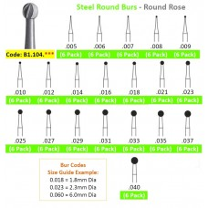 Edenta Steel Round Rose Burs 1.104.0** - Pack 6 - Options Available