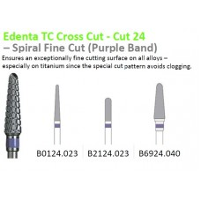 Edenta TC Spiral Fine Cut Burs - Purple Band - Options Available